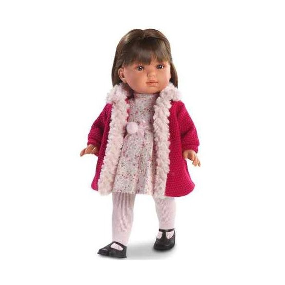 Laura baba barna hajjal magenta színű kabátban 45 cm