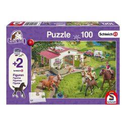 Puzzle 100 db - Lovas kirándulás  (Angol + 2 db Schleich figura a dobozban)