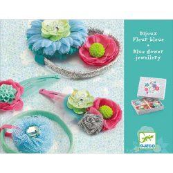 Hajbavaló szett - Kék virágos - Hair clips & elastics blue flower