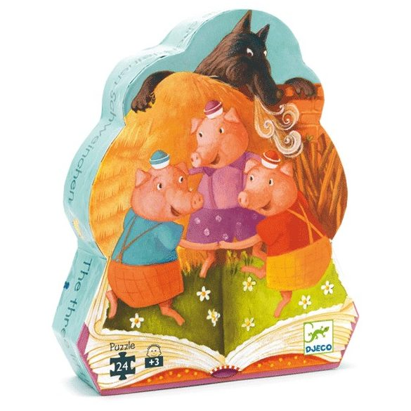 Formadobozos puzzle - A 3 kismalac, 24 db-os - The 3 little pigs