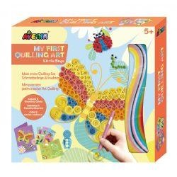 Üdvözlőkártya készítés quilling technikával, Pillangók Avenir