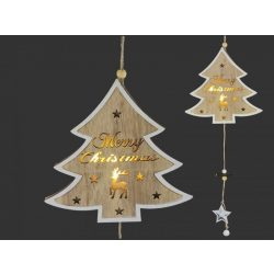 LEDes karácsonyi ajtódísz fenyőfa 18x55cm