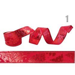 Karácsonyi dekor szalag piros 4cm többféle