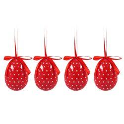 Húsvéti tojás szett piros pöttyös 4db 7cm
