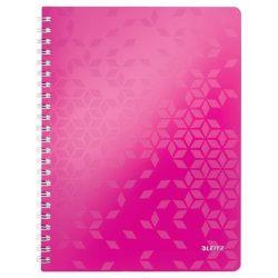 """Spirálfüzet, A4, vonalas, 80 lap, LEITZ """"Wow"""", rózsaszín"""