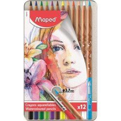"""MAPED """"Artists"""" Fém dobozos akvarell ceruza készlet ajándék ecsettel, 12 db-os"""
