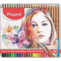 """MAPED """"Artists"""" Fém dobozos akvarell ceruza készlet ecsettel, 24 db-os"""
