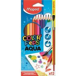"""MAPED """"Color'Peps"""" Háromszögletű akvarell ceruza készlet ajándék ecsettel, 12 db-os"""