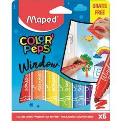 """Ablakfilc készlet, MAPED """"Color'Peps"""", 6 különböző szín"""