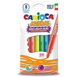 Fluoreszkáló neon színű filctoll 8 db-os készlet - Carioca