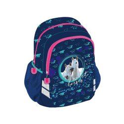 Lovas iskolatáska hátizsák kék színben