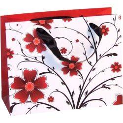 Piros virágok nagy ajándéktáska 27x33x14cm