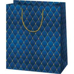 Kék, sujtás mintás közepes méretű ajándéktáska 18x10x23cm