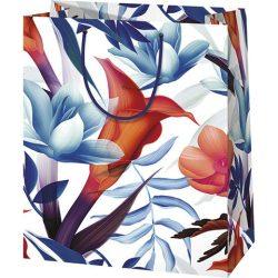 Kék és piros virág mintás nagy méretű ajándéktáska 27x14x33cm