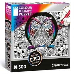 3D-s Colour Terapy színezhető 500 db-os bagoly puzzle - Clementoni