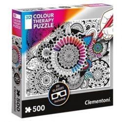 Puzzle: 3D-s Colour Terapy színezhető 500 db-os mandala puzzle – Clementoni