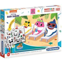 Clementoni: Baby Shark kétoldalú színezhető puzzle 60db-os