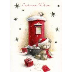 Üdvözlőkártya-Maci Télapó ruhában Karácsonyi/Simon Elvin Xmas Cards