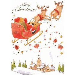 Üdvözlőkártya-Télapó repülő rénszarvasokkal/Karácsonyi - kocka