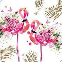 Üdvözlőkártya-Flamingók és virágok-Nigel Quiney/Pizazz Limited