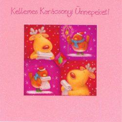 Üdvözlőkártya-Rénszarvas és madárka -Karácsonyi/Frosted Friends