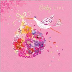 Üdvözlőkártya-Baby girl- Abacus/Lemongrass quadrat