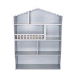 Ház formájú szekrény polcokkal nagy, ezüstszürke Jabadabado
