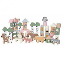 50 darabos fa építőkocka készlet Az erdő állatai Jabadabado