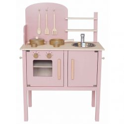 Fa játékkonyha kiegészítőkkel, pasztell rózsaszín Jabadabado