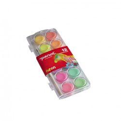 12 db-os színes festék készlet neon színekkel és ecsettel  Penol