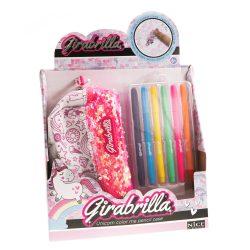 Girabrilla flitteres, színezhető unikornisos tolltartó filcekkel Nice Group