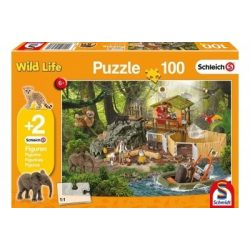 Wild Life puzzle 100 db-os + 2db Schleich figura