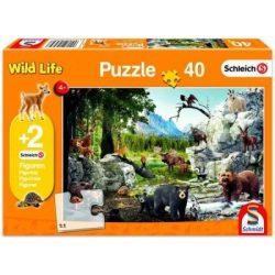 Wild Life puzzle 40 db-os + 2db Schleich figura