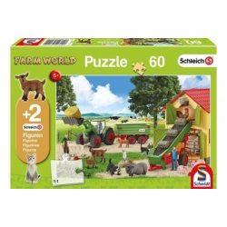 Farm World puzzle 60 db-os +2 db Schleich figura
