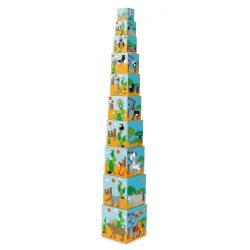 Toronyépítő kocka  - A világ állatai 10 db -os Scratch