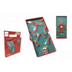 2 az 1-ben mágneses puzzle és golyófuttató játék, robotos Scratch Europe