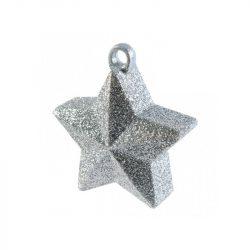 Csillogó Glitteres Ezüst Csillag Léggömbsúly - 170 gramm