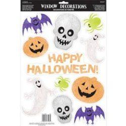 Halloween Figurák Glitteres Ablakdekoráció, 11 db-os