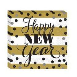 Happy New Year Szilveszter Parti Szalvéta, 33 cm x 33 cm, 16 db-os