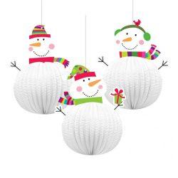Vidám Hóemberes Télies Lampion Függő Dekoráció - 20 cm-es, 3 db-os