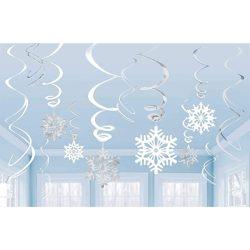 Spirális Hópelyhes Függő Dekoráció