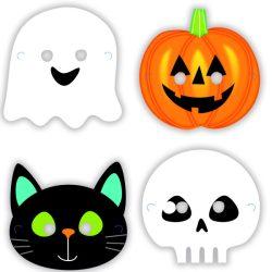 Halloween Karakterek Papír Maszk - 8 db