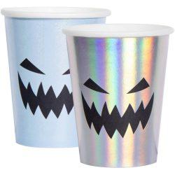 Holografikus Rémisztő Tökfej Mintás Pohár Halloween-re, 250 ml, 6 db
