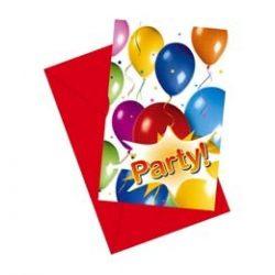 Balloon Fiesta Parti Meghívó és Boríték - 6 db-os