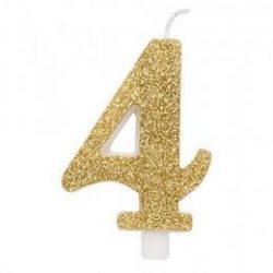 4-es Csillogó Arany Szülinapi Számgyertya Tartóval