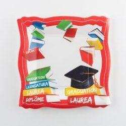 Diplomaosztó Kalapos Papír Parti Tányér Ballagásra - 10 db-os, 19 cm