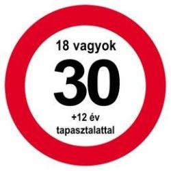 Nem vagyok 30... Sebességkorlátozó Közlekedési Tábla Szülinapra, 40 cm