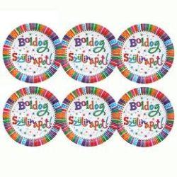 Boldog szülinapot party tányér, 6 db-os, 23 cm