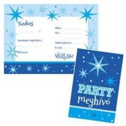Kék party meghívó és boríték