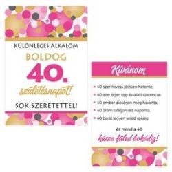 Boldog 40. Születésnapot! Rózsaszín Pasztell Konfettis Boros Üveg Címke